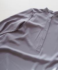 "Graphpaper ""Satin Band Collar Flare Dress"" Gray"