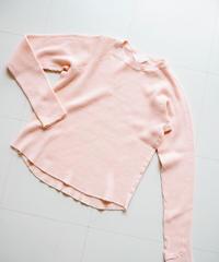 "UNUSED ""US1521 long-sleeve waffle t-shirt  "" pink women's"