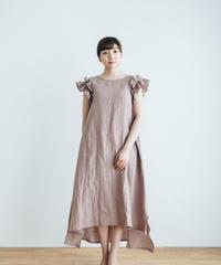 Frill Sleeve Linen dress【pink】