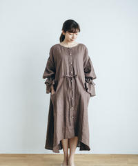 Baby Frill Linen Dress【Rose brown】