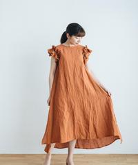Frill Sleeve Linen dress【Orange】