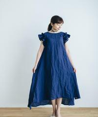 Frill Sleeve Linen dress 【Navy blue】