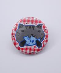 ねこぶち缶バッチ(小)黒渕 51853010
