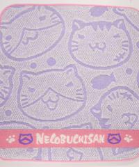 ねこぶちジャガードミニタオル(薄紫)51856004