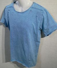 カットオフ 貼り合わせ縫製 ストーンウォッシュ加工 UネックTシャツ 限定カットデザイン