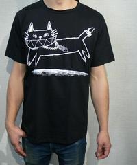 COTTON 100% 3D プリント  ネコさん UネックTシャツ Lサイズ