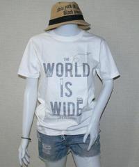 world is wide(世界は広い!)シルクスクリーン UネックTシャツ COTTON100%