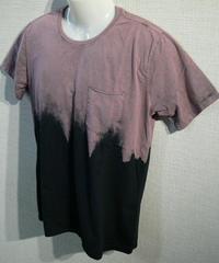 再入荷ほぼ無し 2段染抜き ダメージ ストーンウォッシュ ポケット付き UネックTシャツ