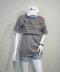COTTON 100% 3D プリント  ネコさん UネックTシャツ