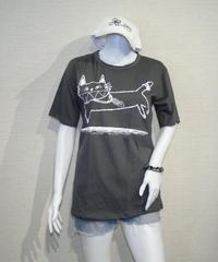 COTTON 100% 3D プリント  ネコさん UネックTシャツ Mサイズ