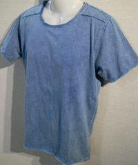 カットオフ 貼り合わせ縫製 ストーンウォッシュ加工 UネックTシャツ