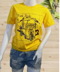COTTON 100% シルクスクリーン プリント Tuk Tuk UネックTシャツ