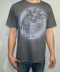 COTTON 100% 3Dプリント KIRIN(キリンさん) UネックTシャツ  Lサイズ