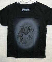 COTTON 100% 3Dプリント   KIRIN(キリンさん) UネックTシャツ(KIDS)