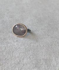 ishi jewelry / ring rayado / pink sapphire  / 10k rose gold bezel