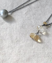 ishi jewelry / double face long necklace / citrine x tahitian pearl