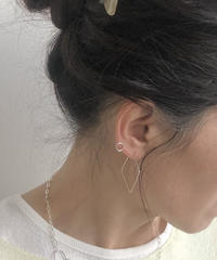 cinq / big square earring  / silver