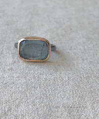 ishi jewelry / ring rayado /  Moss Aquamarine