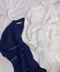 at home collection : FRENCH LINEN OVER SIZE SHIRT