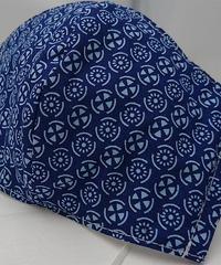丸紋ガーゼマスク(青)