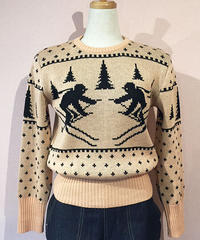 Ladies Skiing Pattern Jacquard Sweater【SVY-KN036】