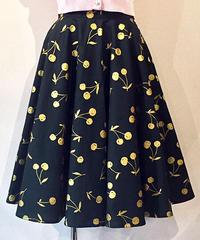 Gold Cherry Circular Skirt【SVY-SK056】