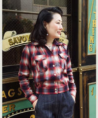 Ombre check Ladies Shirts Blouson【SVY-LSH106】