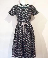 Corset Lace-up Gather PK Flamingo Dress【SVY-OP104】