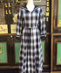 Double Cuffs Sailor Long One-piece (Cotton Ombre check)【SVY-OP110】