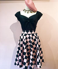 Diamond Checker Circular Skirt【SVY-SK052】