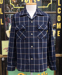 Wool Windowpane Check Open Shirts【SVY-SH297】