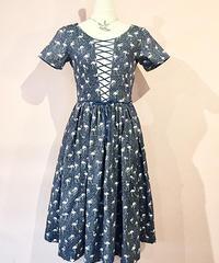 Corset Lace-up Gather Flamingo Dress【SVY-OP105】