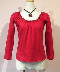 Shirring U-Neck L/S Cut&Sew【SVY-LCS119】