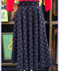 2Tone Stich Kasuri Extra Long Circular Skirt【SVY-SK065】