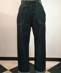 Black Herringbone Denim Ranch Pants【SVY-LPT016】