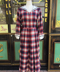 Double Cuffs Sailor Long One-piece (Ombre check)【SVY-OP111】