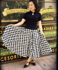 Black Cat Extra Long Circular Skirt(ポケット有り)【SVY-SK069】