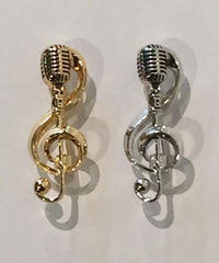 Music Note x Skelton Microphone Pin Brooches / Pendant Top【NB-AC001】Restocks!