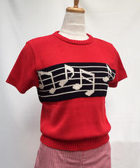 Musical Note S/S Summer Knit (Ladies)【SVY-KN037】