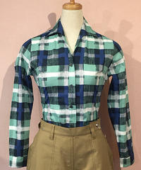 Small Collar Abstract Check Italian Blouse【SVY-LSH096】