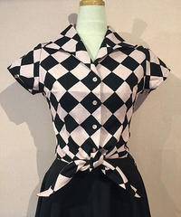 Diamond Checker Hemknot Blouse【SVY-LSH092】