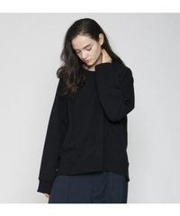 VOAAOV / PILE SHAPE KNITTED SWEAT -BLACK-