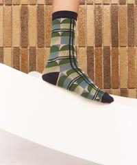 HENRIK VIBSKOV / Optical Socks Femme -Horse Comb Dark-