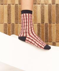HENRIK VIBSKOV / Grid Socks Femme -Red Grid-