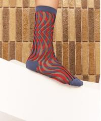HENRIK VIBSKOV / Moiré Socks Femme -Blue Red Moiré-