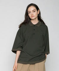 VOAAOV WASHABLE WOOL POLO TOPS -OLIVE-