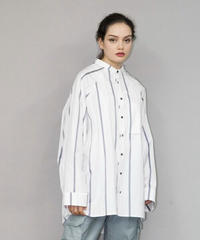 my beautiful landlet / LOOSE DRESS STANDCOLLAR SHIRT -GREY-