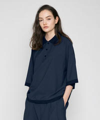 VOAAOV WASHABLE WOOL POLO TOPS -NAVY-