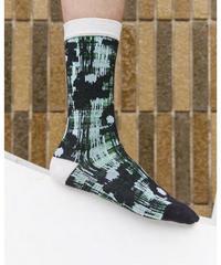 HENRIK VIBSKOV / Flower Check Socks Femme -Black and White Flowers-