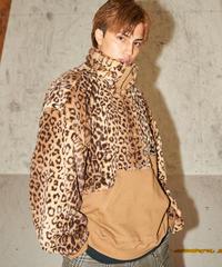 Leopard half zip pull-over(Camel)